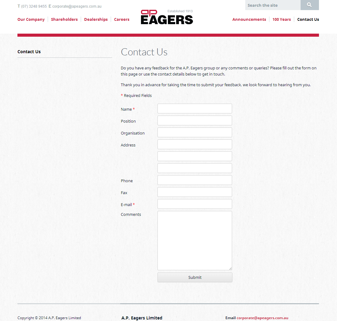 AP Eagers Limited Website Link