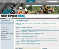 Mount Burgess Mining NL Website Link