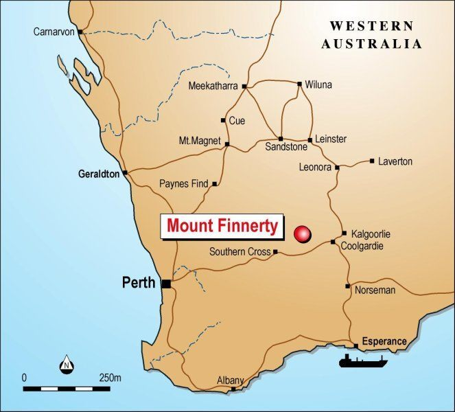 Map showing the location of the Mt Finnerty Project
