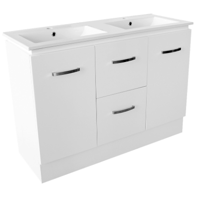 Devon 1200 Vanity Dbl 1TH WH O/Flow