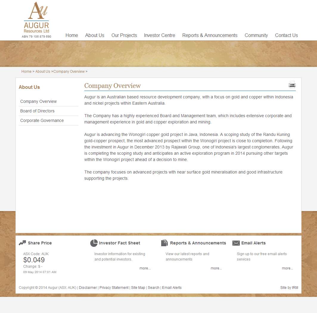 Augur Resources Limited Website Link