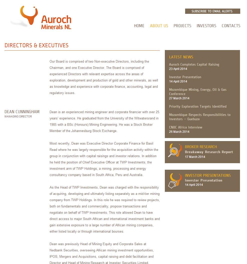 Auroch Minerals NL Website Link