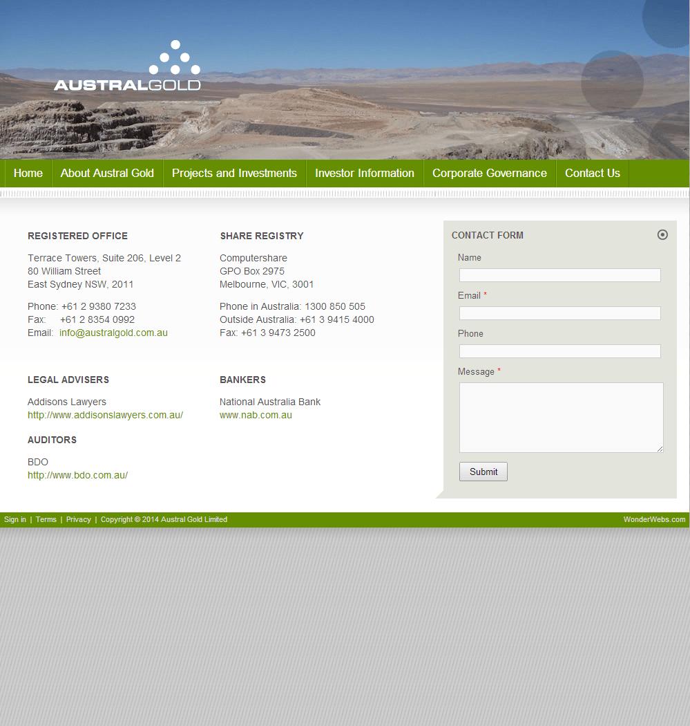 Austral Gold Limited Website Link