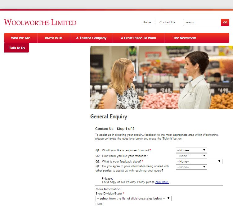 Woolworths Group Limited Website Link