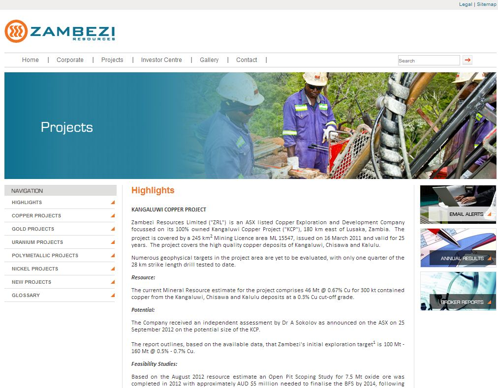 Zambezi Resources Limited Website Link