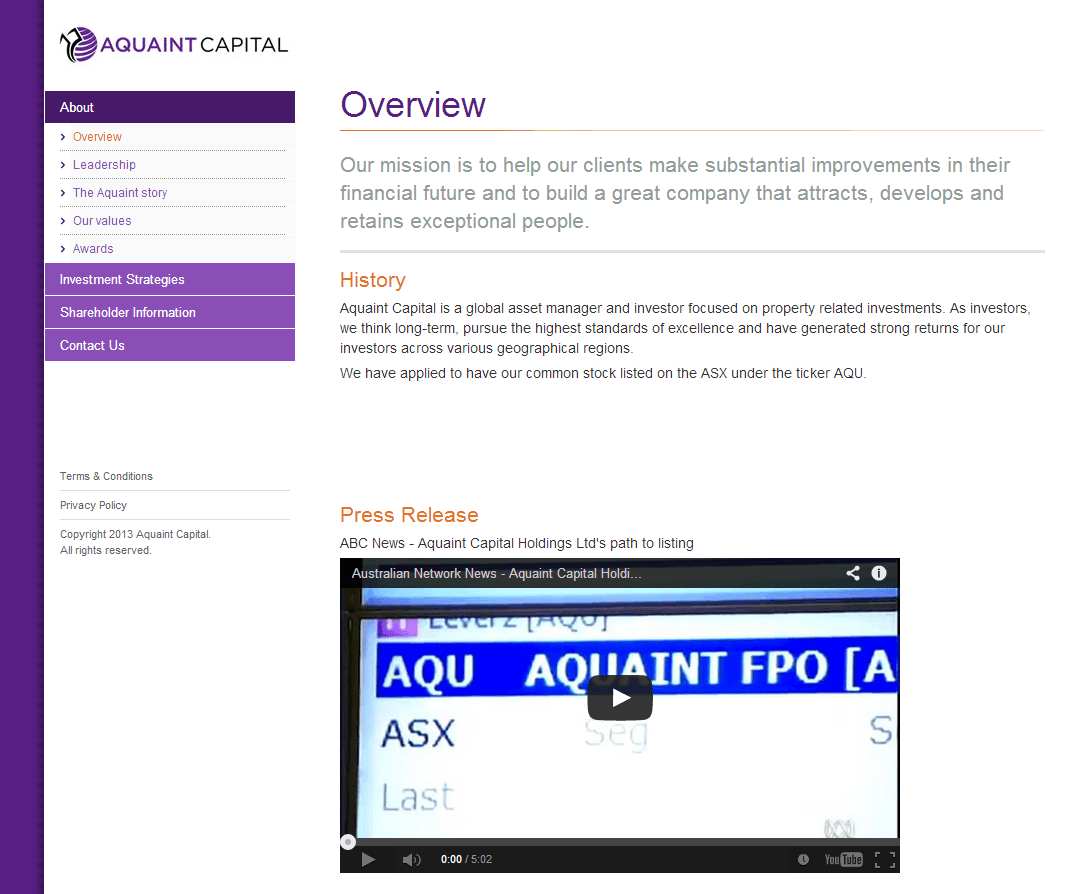 Aquaint Capital Holdings Limited Website Link