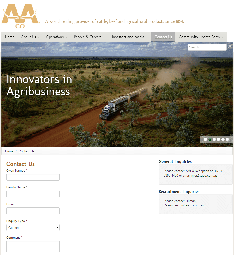 Australian Agricultural Company Limited Website Link