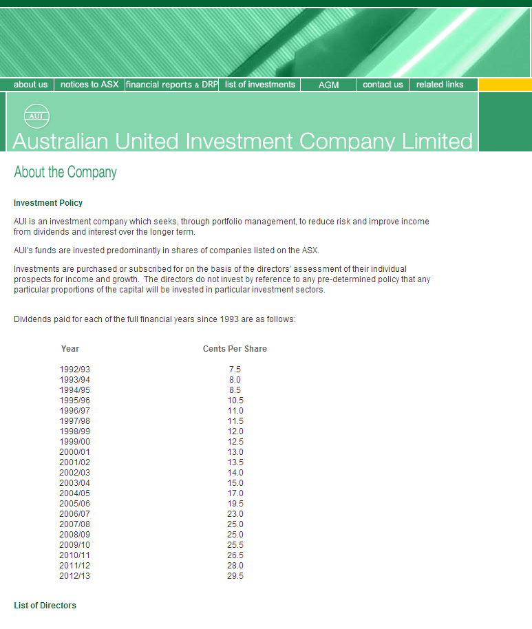 Australian United Investment Company Limited Website Link