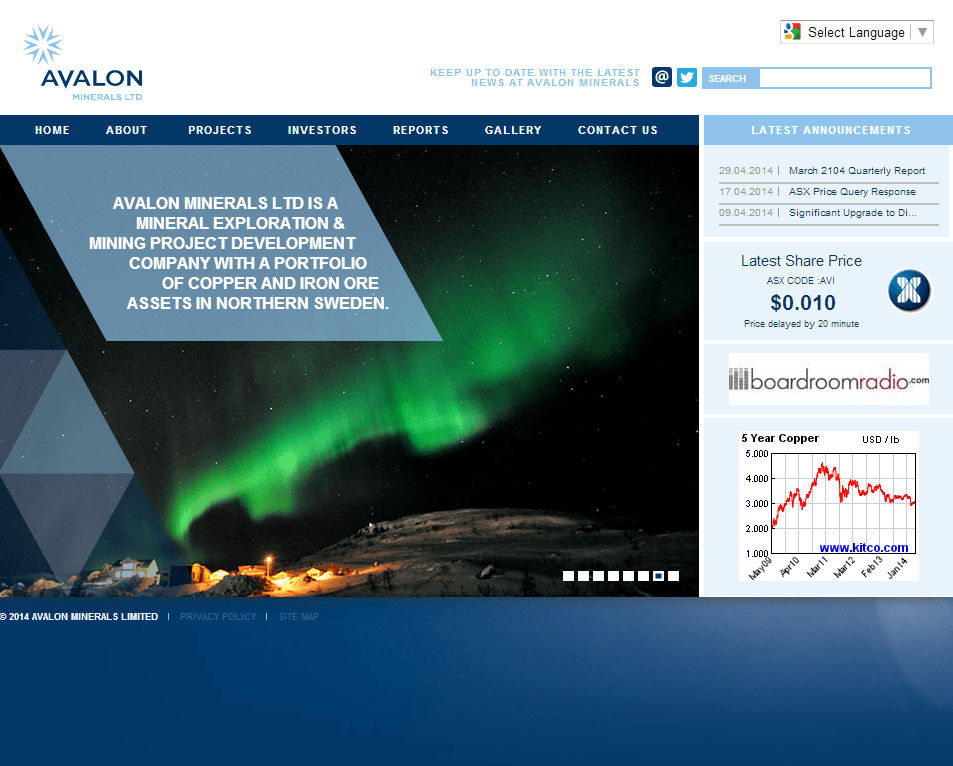 Avalon Minerals Limited Website Link