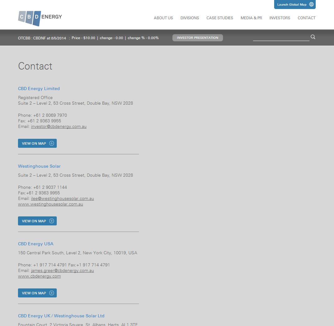 CBD ENERGY LTD Website Link