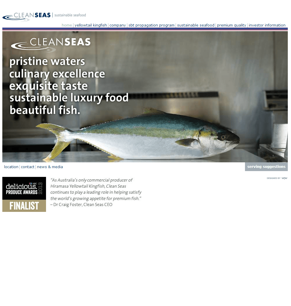 Clean Seas Seafood Limited Website Link