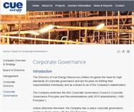 Cue Energy Resources Limited Website Link