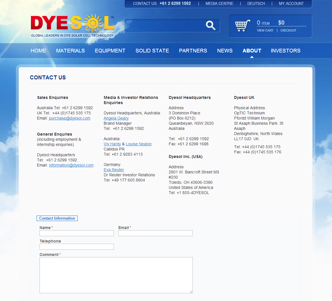 Dyesol Limited Website Link