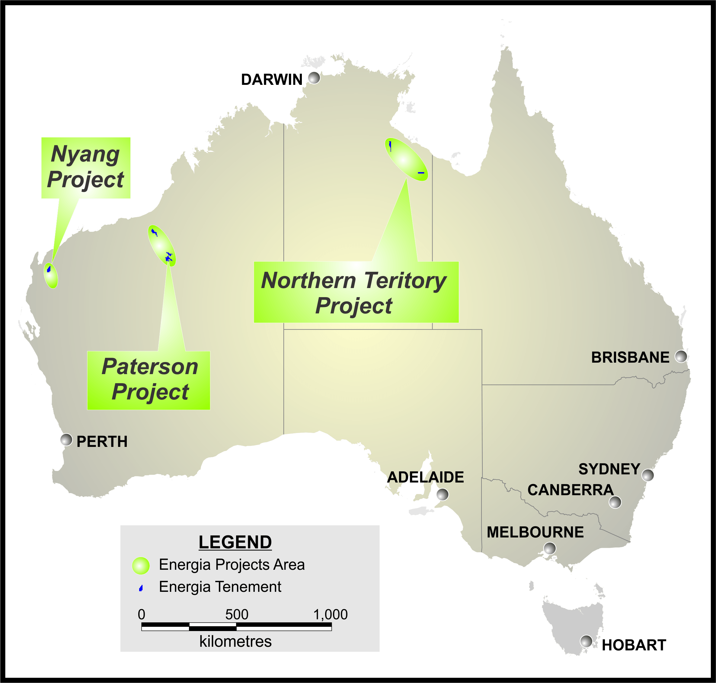 Map of Australian Projects.