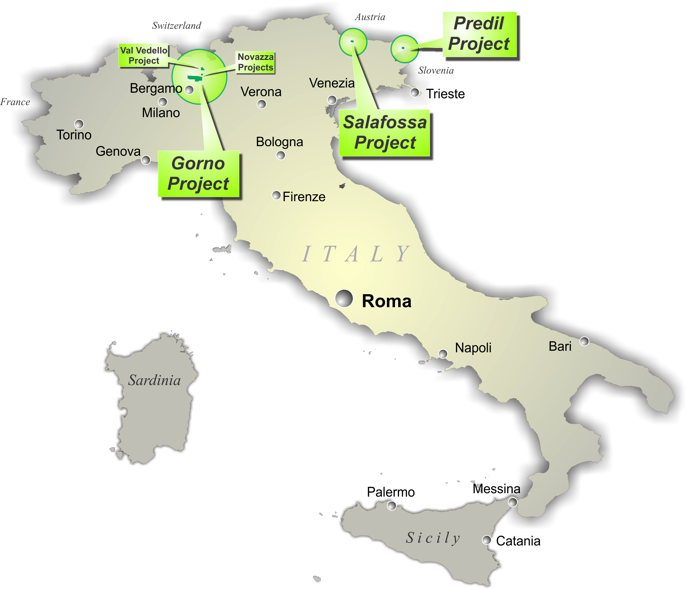 Map of Italian Projects.