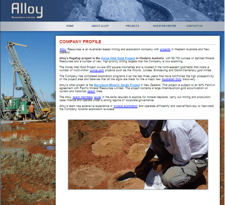 Alloy Resources Limited Website Link