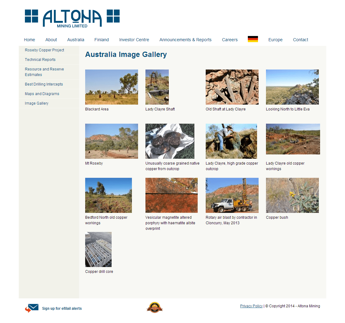 Altona Mining Limited Website Link
