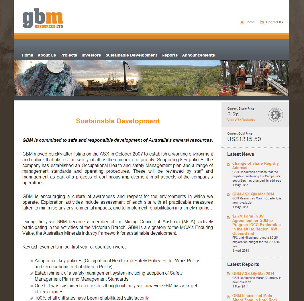 GBM Resources Limited Website Link