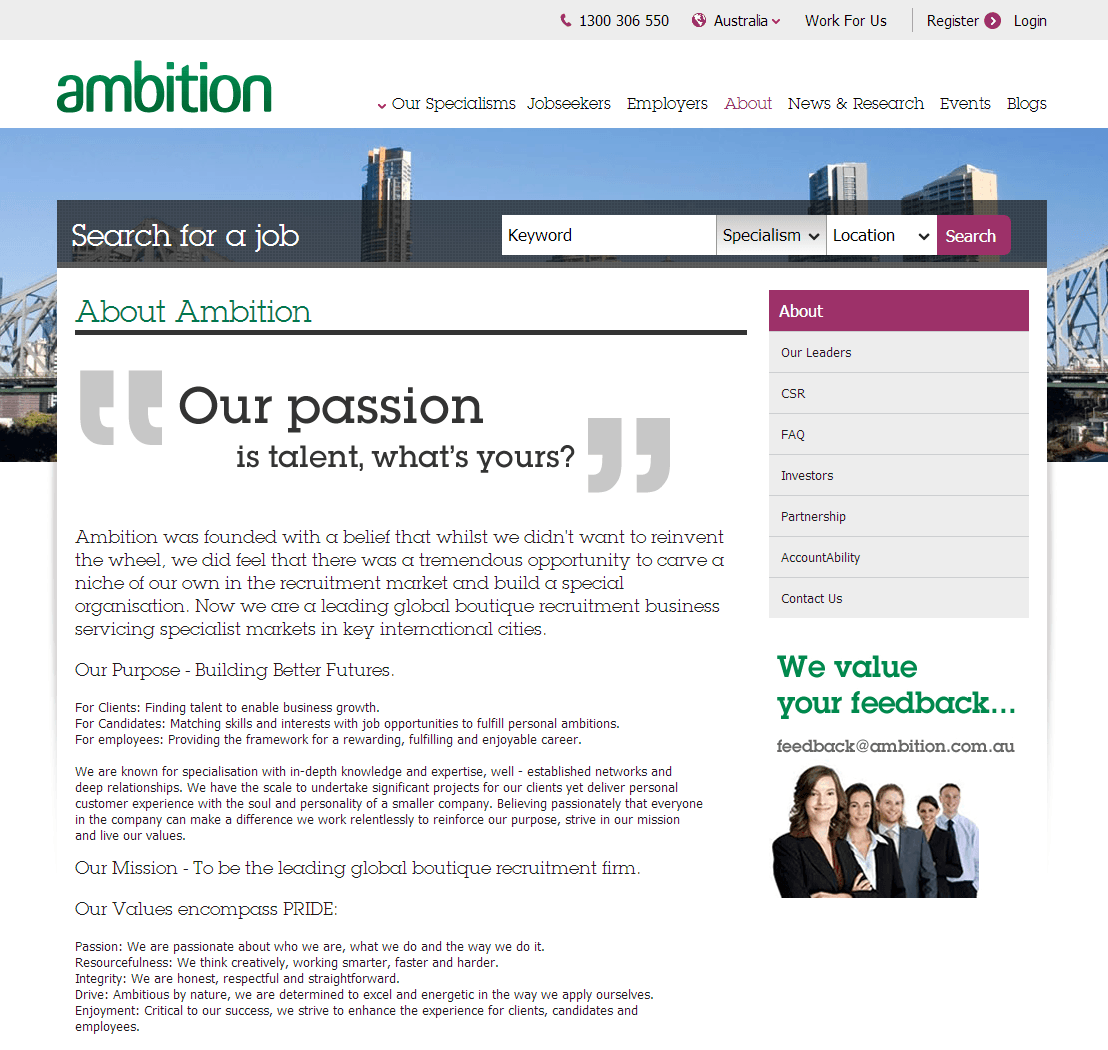 Ambition Group Limited Website Link