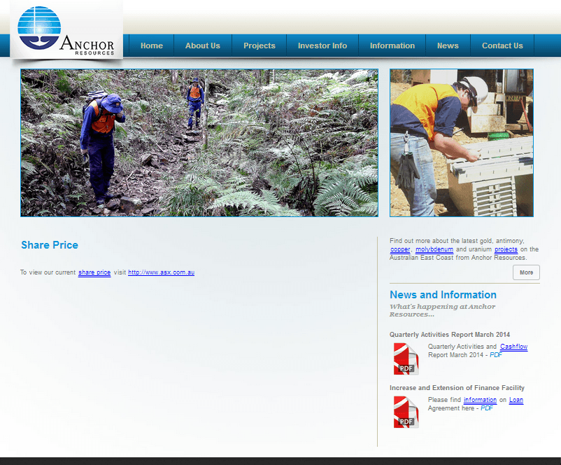 Anchor Resources Limited Website Link